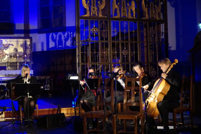 Johanne Aurora Løvli Hidle (fiolin), Cathrine Rossbach Heier (fiolin), Nora Taksdal (bratsj), Benjamin Lund Tomter (cello)